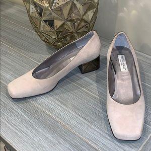 Bruno Magli Suede Block Heel Shoes Size 6